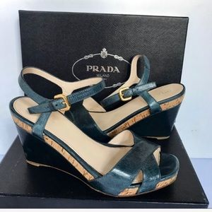 Prada Vitello Shine Denim Wedges Size 10/40 Italy